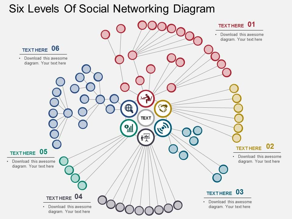 Six Levels Of Social Networking Diagram Flat Powerpoint Design