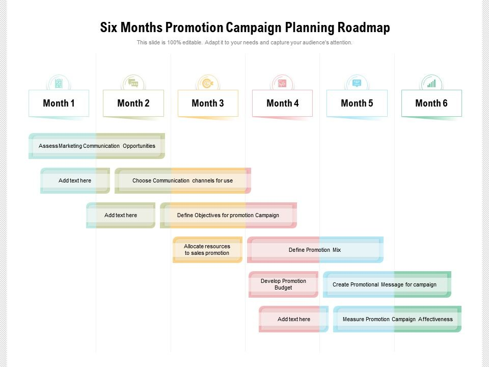 Six Months Promotion Campaign Planning Roadmap
