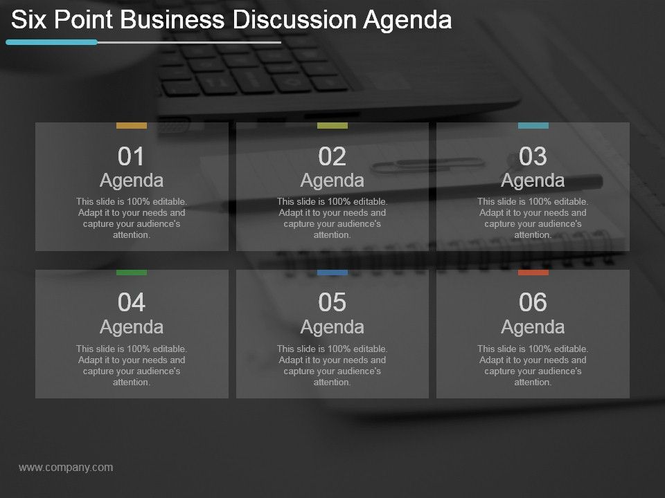 Six Point Business Discussion Agenda Ppt Example 2017 Slide01 Slide02