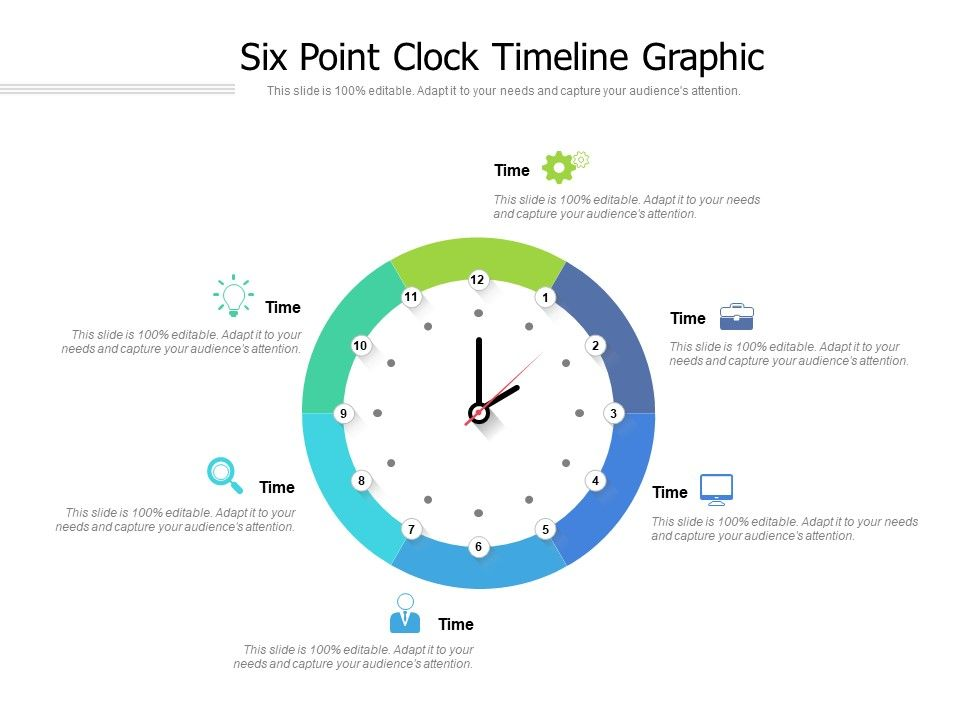 Six Point Clock Timeline Graphic