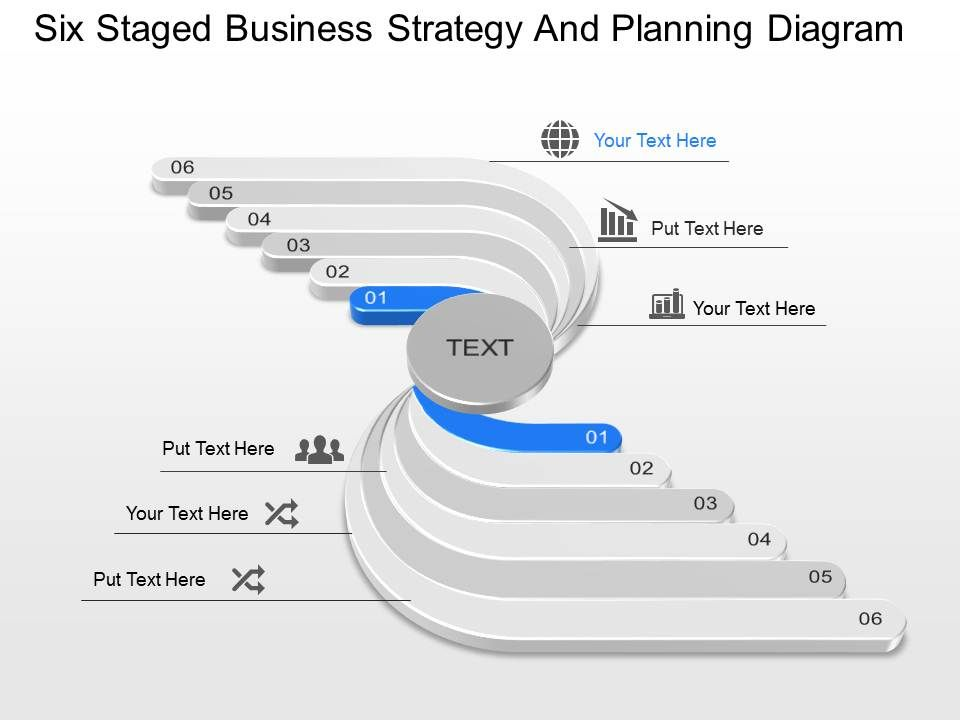 six staged business strategy and planning diagram powerpoint