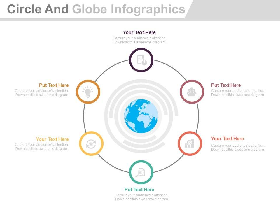 awesome strategy slides showing six staged circle and globe infographics flat. Black Bedroom Furniture Sets. Home Design Ideas