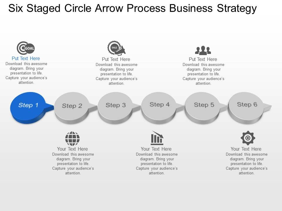six staged circle arrow process business strategy powerpoint