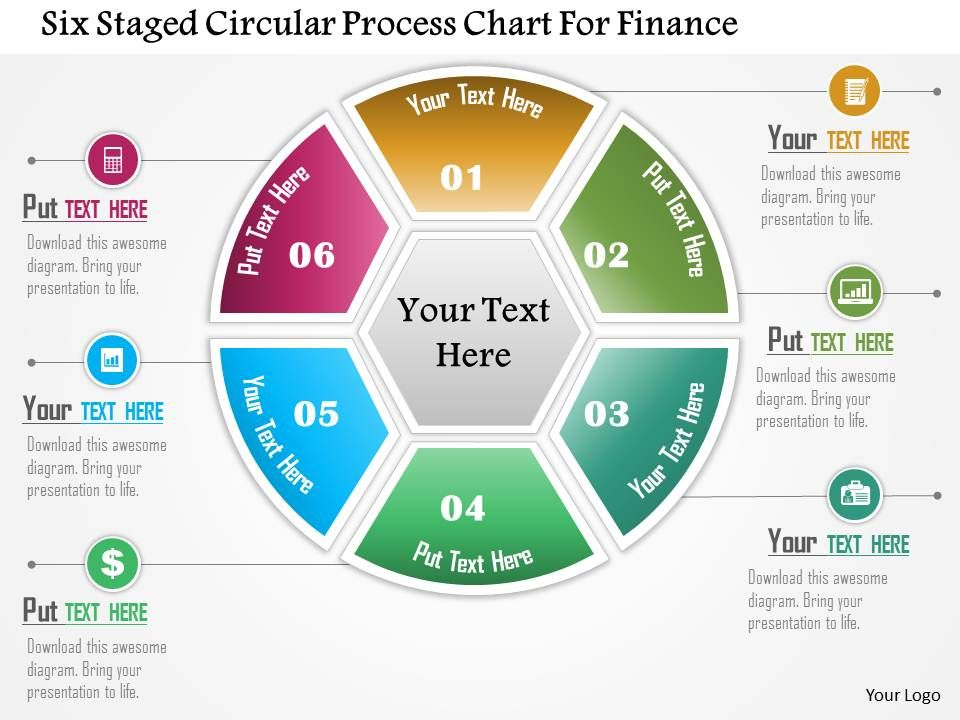 Six Staged Circular Process Chart For Finance Powerpoint Template