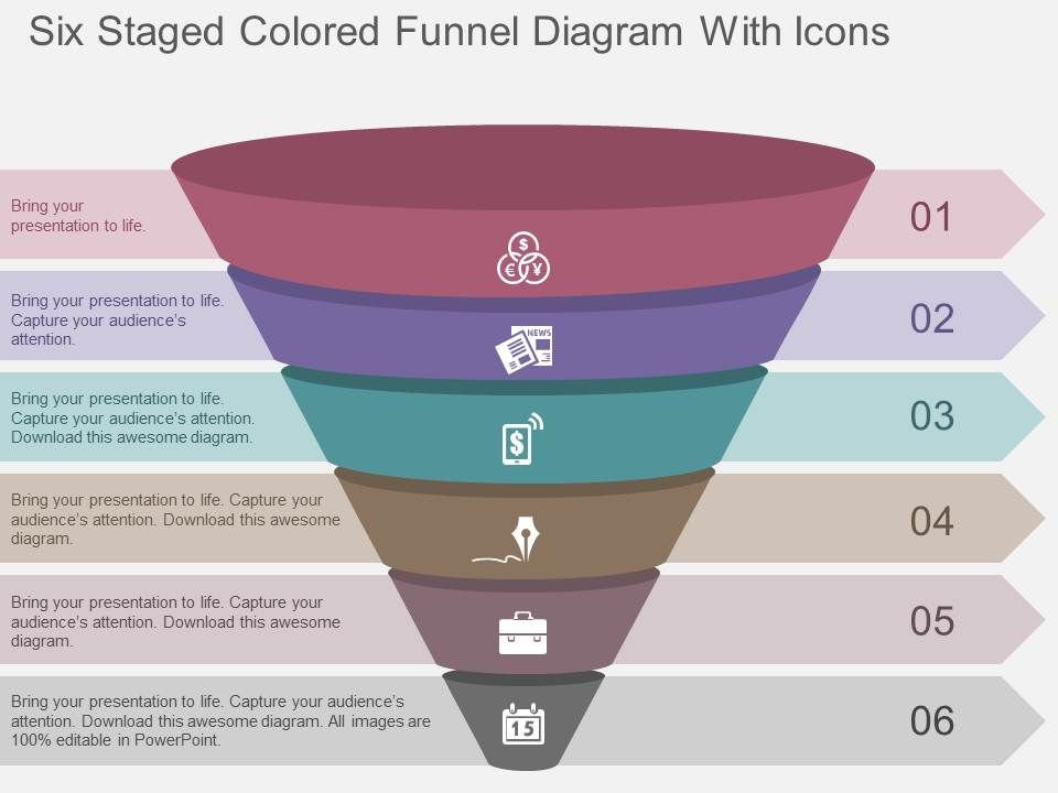 six staged colored funnel diagram with icons flat. Black Bedroom Furniture Sets. Home Design Ideas