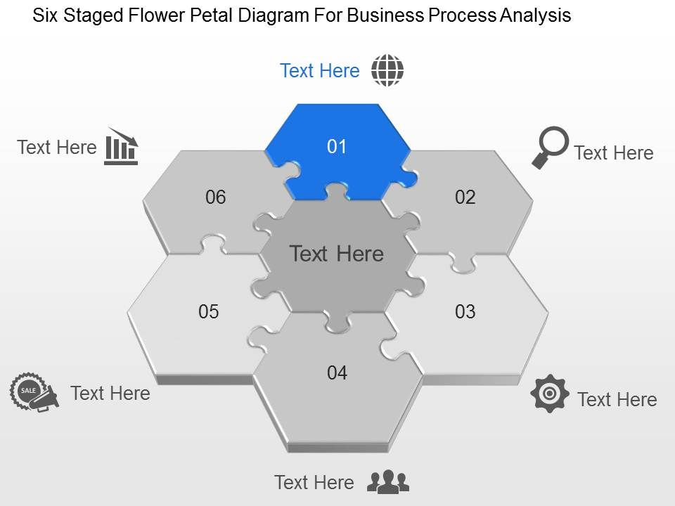 six staged flower petal diagram for business process analysis ppt