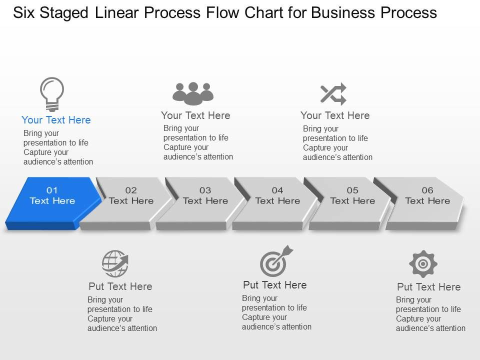 Six Staged Linear Process Flow Chart For Business Process Powerpoint