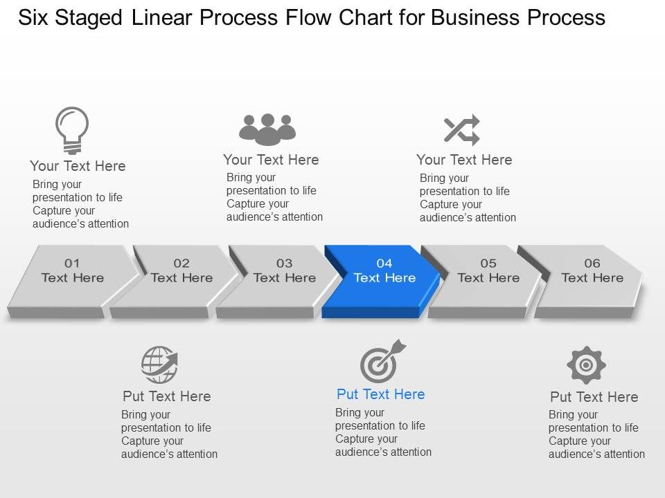 Six Staged Linear Process Flow Chart For Business Process