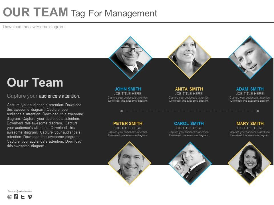 six_staged_our_team_tag_for_management_powerpoint_slides_Slide01