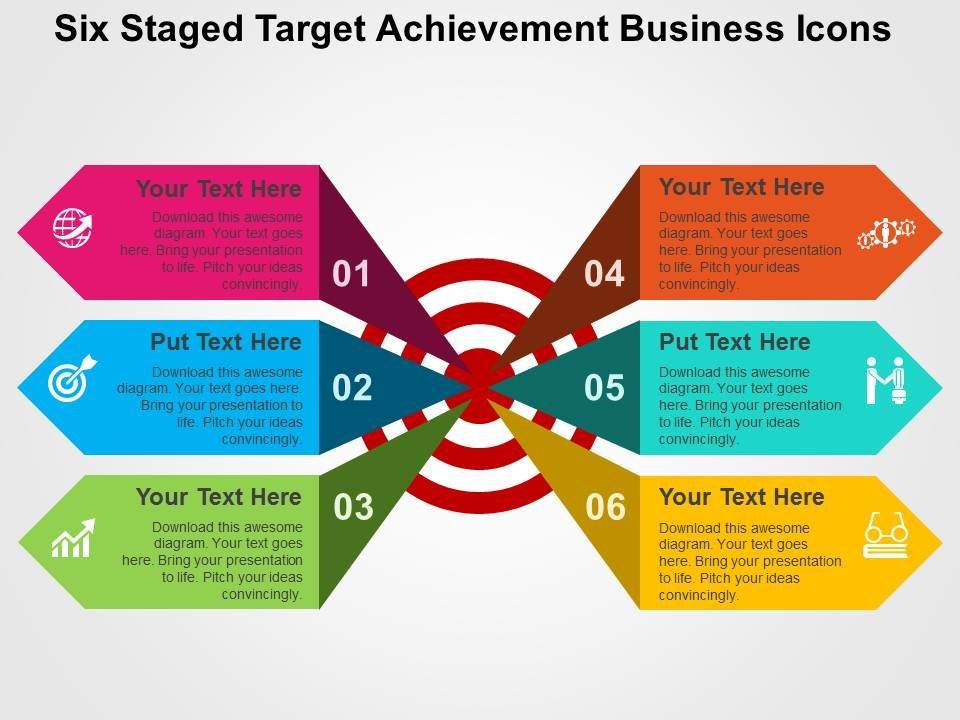 six staged target achievement business icons flat