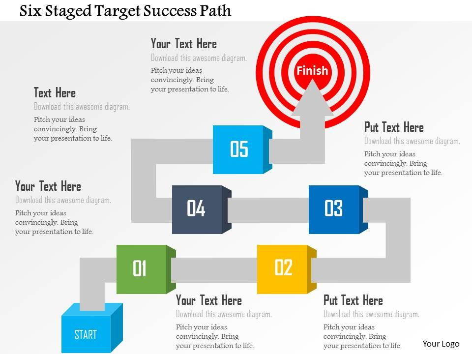six staged target success path powerpoint template templates