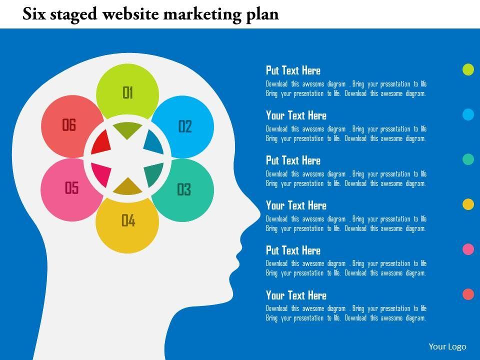 Six Staged Website Marketing Plan Flat Powerpoint Design