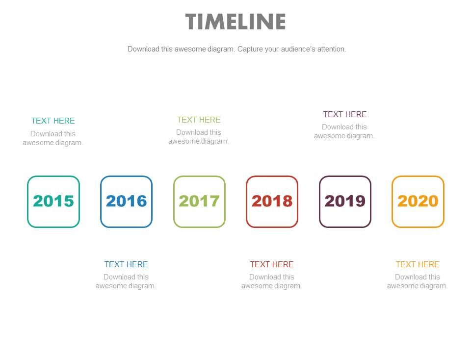 six staged year based linear timeline powerpoint slides templates