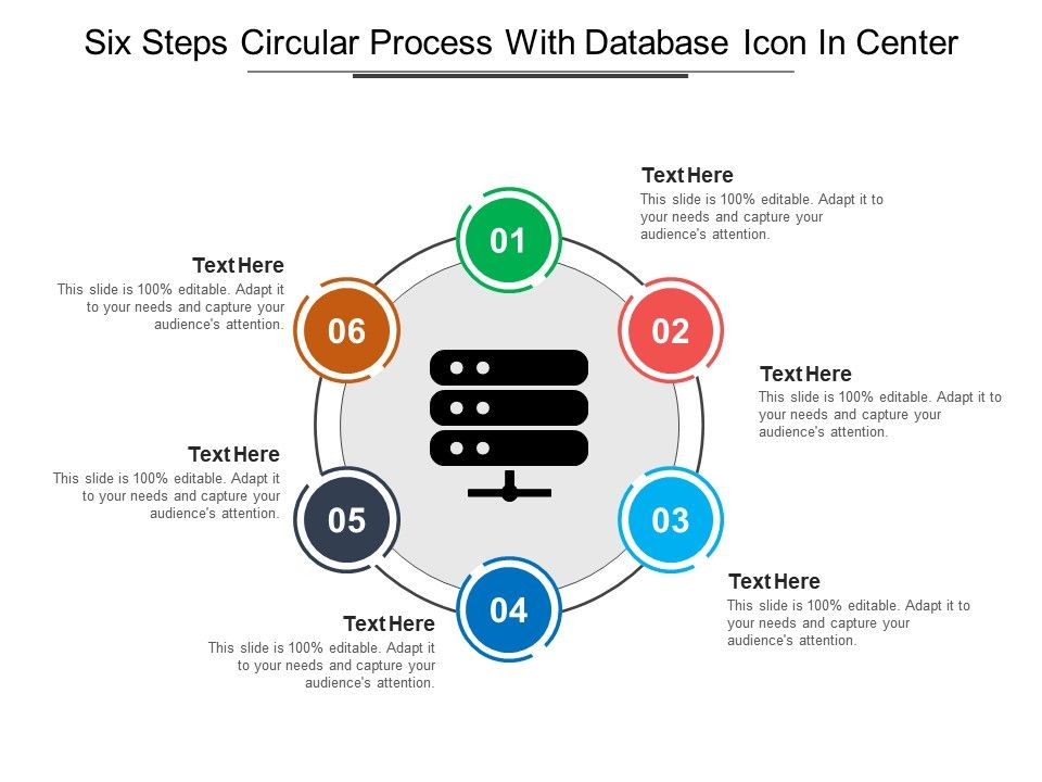 Six Steps Circular Process With Database Icon In Center Powerpoint