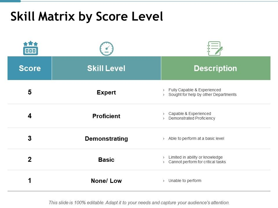 Skill Matrix By Score Level Demonstrating Ppt Powerpoint
