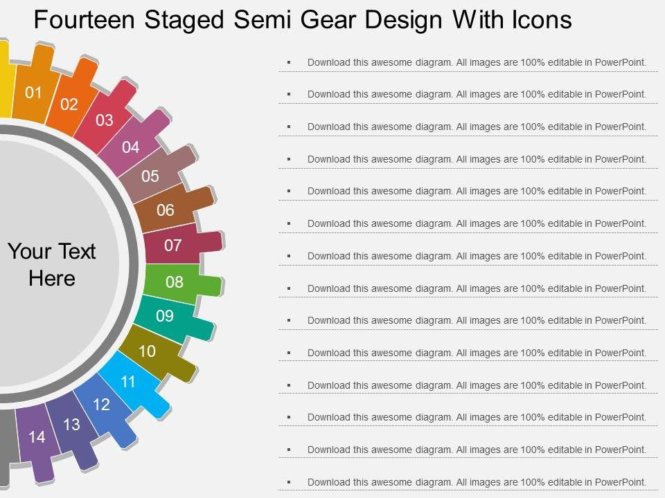 sl_fourteen_staged_semi_gear_design_with_icons_flat_powerpoint_design_Slide01