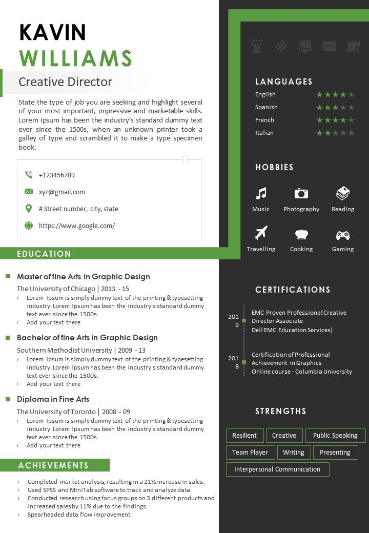 Sample Resume Template For Creative Director Powerpoint