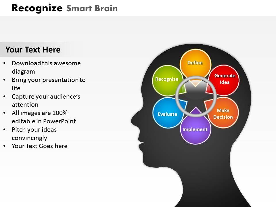 Smart Brain For Problem Solving Powerpoint Template Slide