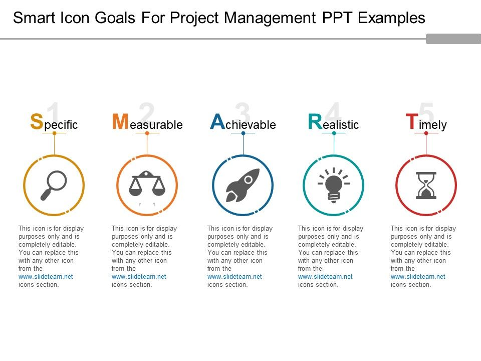 smart icon goals for project management ppt examples