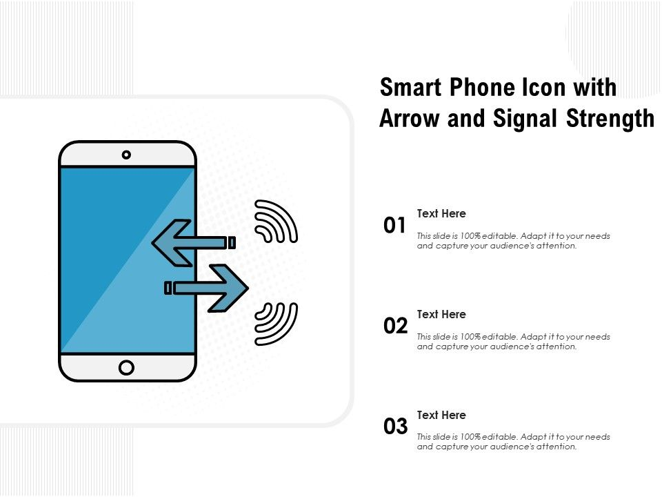Smart Phone Icon With Arrow And Signal Strength