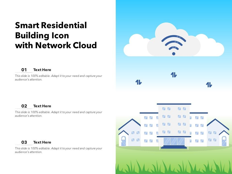 Smart Residential Building Icon With Network Cloud
