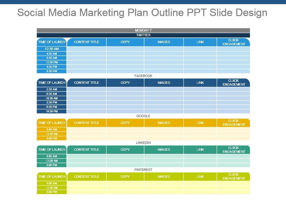 social media marketing plan outline ppt slide design powerpoint