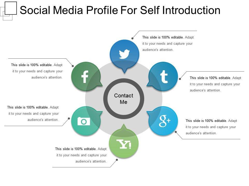 social media profile for self introduction presentation examples presentation graphics. Black Bedroom Furniture Sets. Home Design Ideas