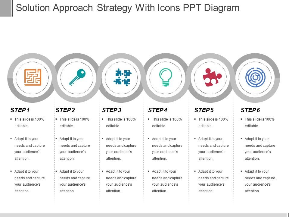 solution approach strategy with icons ppt diagram