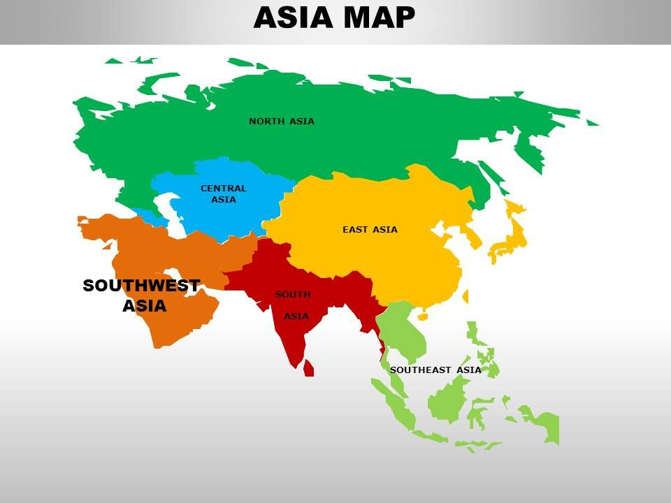South Asia Continents PowerPoint Maps PowerPoint Slide Images - South asia map