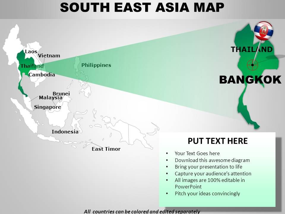 South East Asia Continents PowerPoint maps | PowerPoint Slide ...