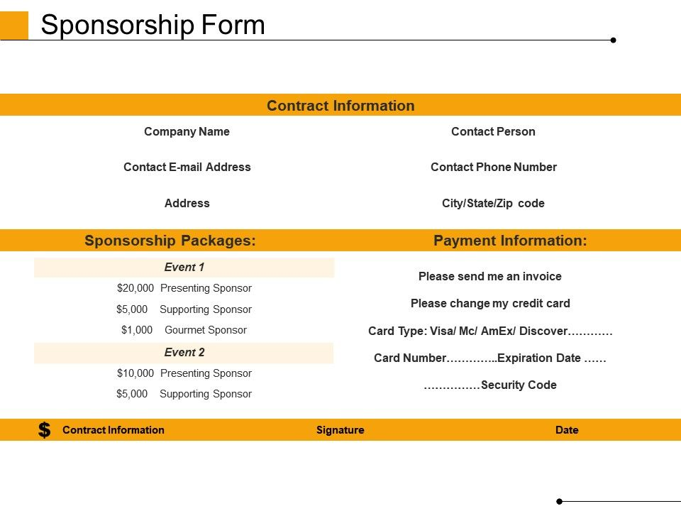Sponsorship Form Powerpoint Slide Show | PowerPoint