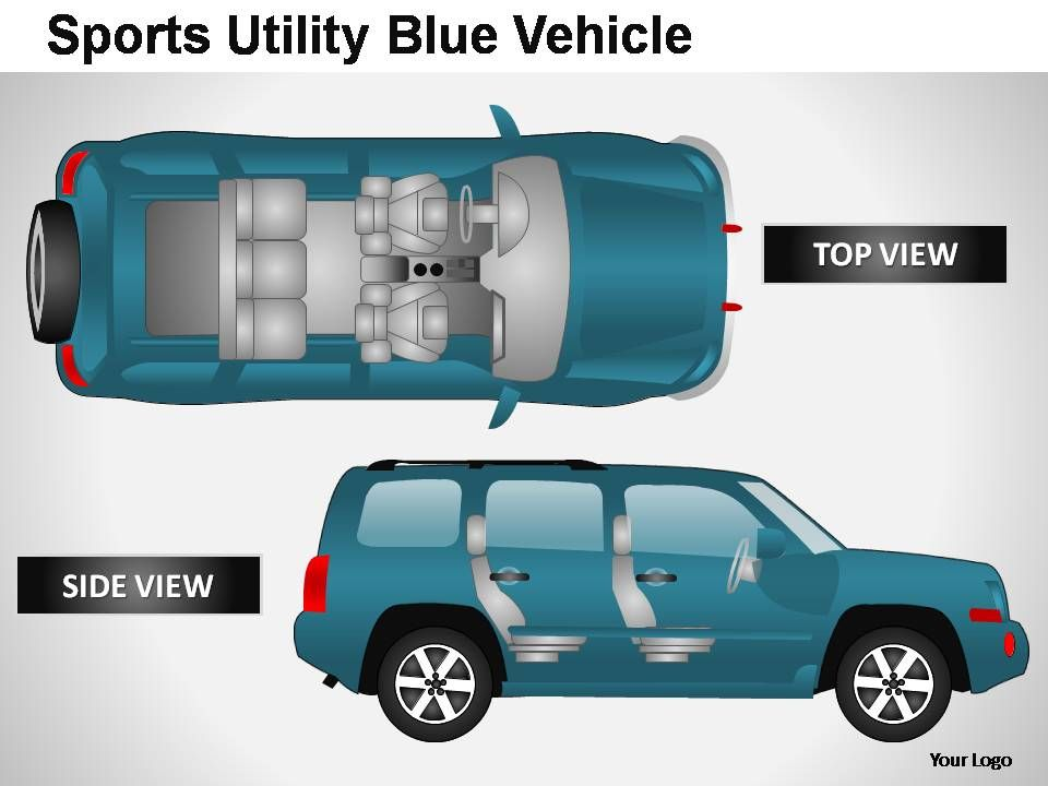 sports utility blue vehicle top view powerpoint presentation, Presentation templates