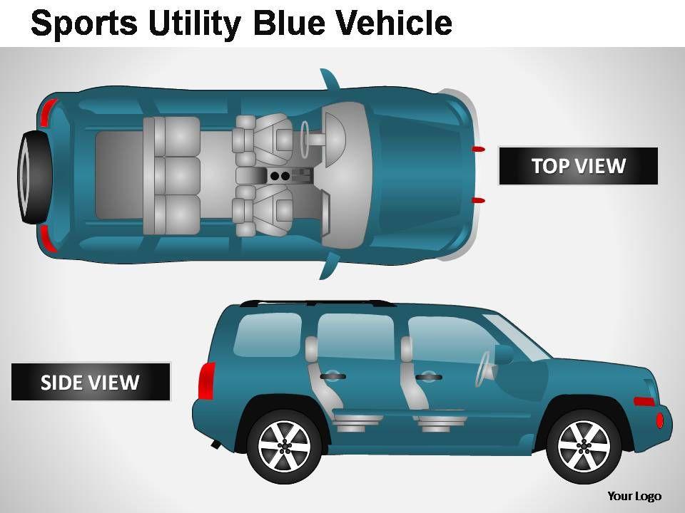 sports utility blue vehicle top view powerpoint presentation, Presentation templates