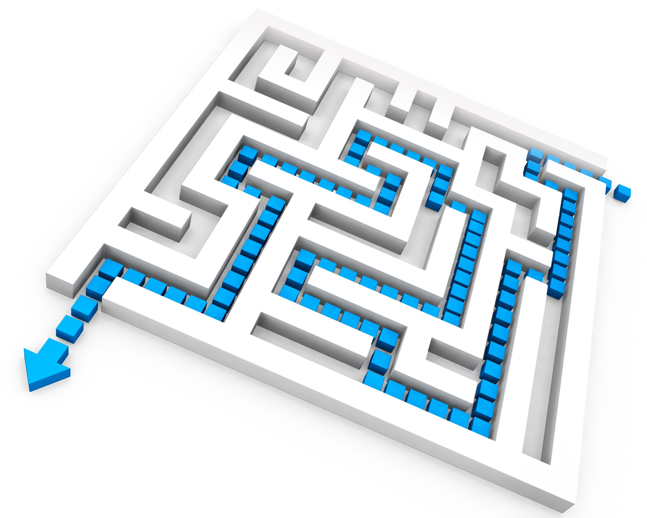 Square Maze With Solution Path For Problem Solving Stock