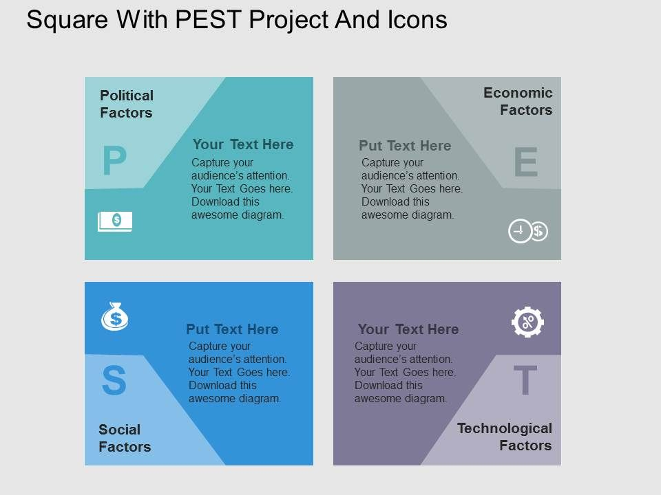 Square With Pest Project And Icons Flat Powerpoint Design ...