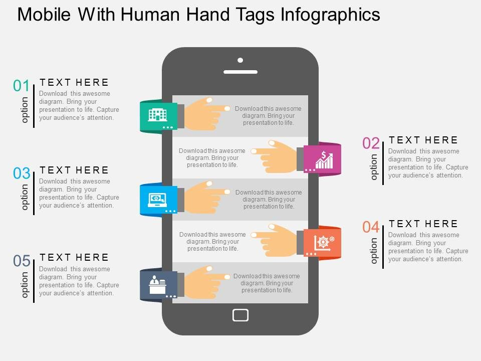 sr_mobile_with_human_hand_tags_infographics_flat_powerpoint_design_Slide01