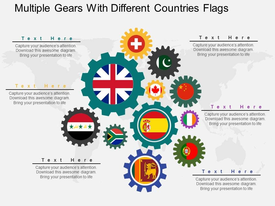 ss_multiple_gears_with_different_countries_flags_flat_powerpoint_design_Slide01