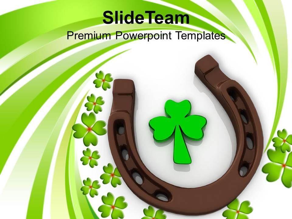 st_patricks_day_3d_horse_shoes_and_clover_leaf_celebration_templates_ppt_backgrounds_for_slides_Slide01