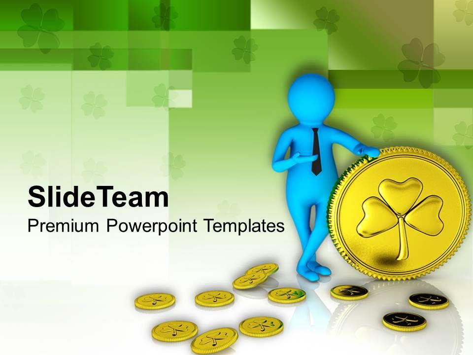 st_patricks_day_blue_man_with_shamrock_coins_decorative_templates_ppt_backgrounds_for_slides_Slide01