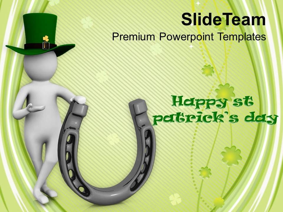 st patricks day date 3d man carrying pot of gold coins templates ppt ...