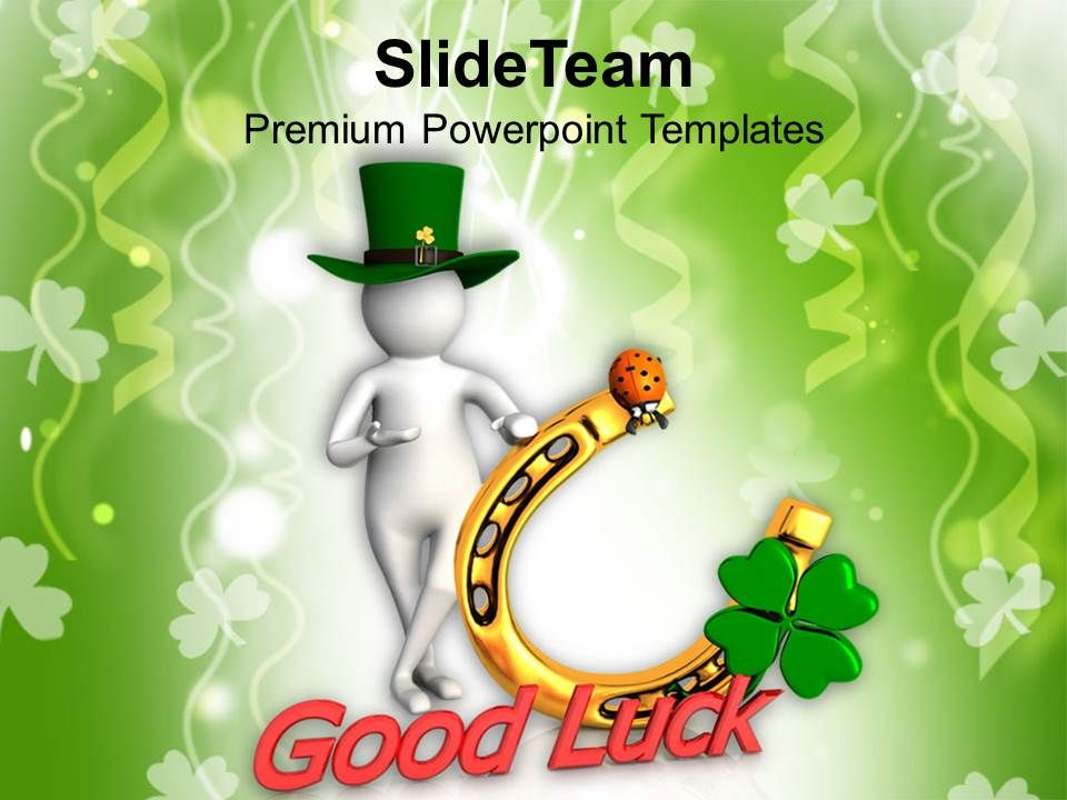 st_patricks_day_date_green_hat_man_showing_good_luck_templates_ppt_backgrounds_for_slides_Slide01