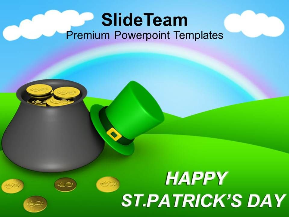 st_patricks_day_date_pot_of_leprechaun_gold_on_rainbow_templates_ppt_backgrounds_for_slides_Slide01