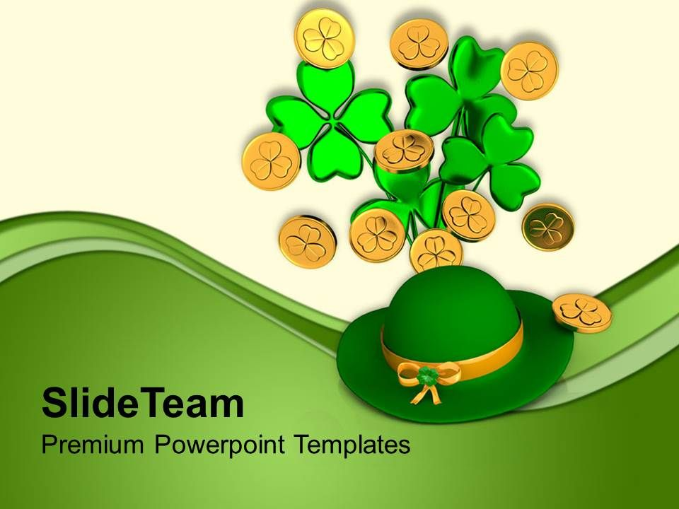 st_patricks_day_green_hat_with_clover_bunch_shamrock_coins_templates_ppt_backgrounds_for_slides_Slide01