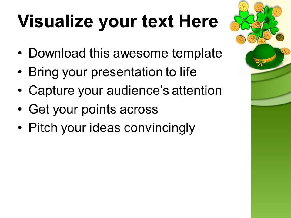 st patricks day green hat with clover bunch shamrock coins templates