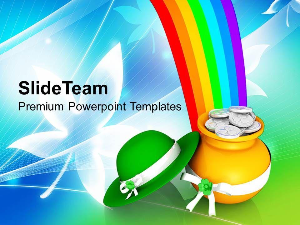 st_patricks_day_green_hat_with_golden_pot_shamrock_coins_templates_ppt_backgrounds_for_slides_Slide01