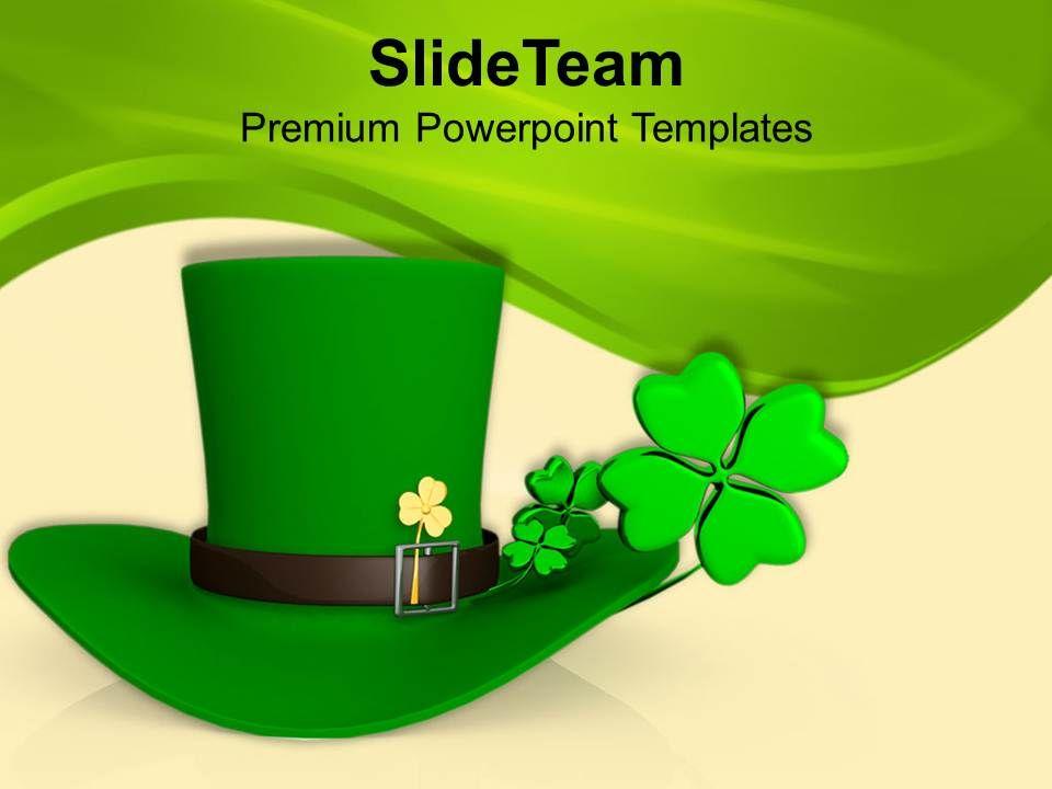 st_patricks_day_green_hat_with_shamrock_symbol_templates_ppt_backgrounds_for_slides_Slide01