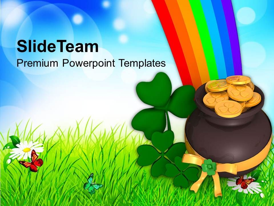st_patricks_day_lucky_symbol_under_rainbow_templates_ppt_backgrounds_for_slides_Slide01