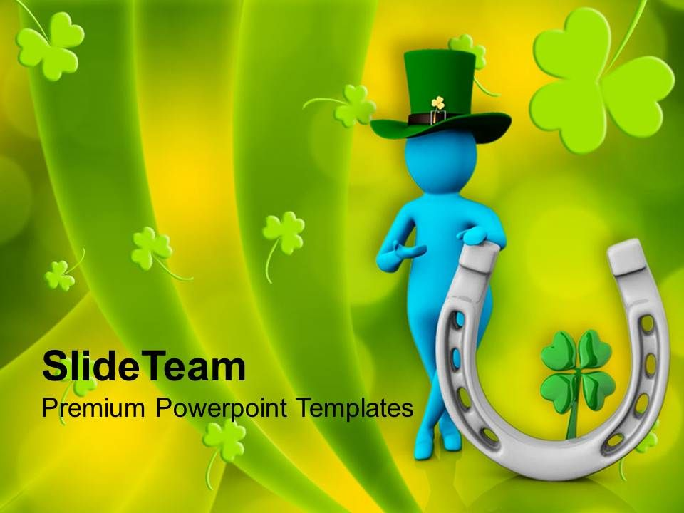 st_patricks_day_man_with_green_hat_and_clover_leaf_templates_ppt_backgrounds_for_slides_Slide01