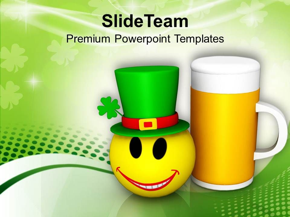 st_patricks_day_smiley_face_and_beer_mug_celebration_festival_templates_ppt_backgrounds_for_slides_Slide01