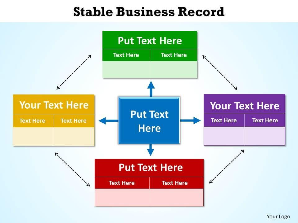 stable business record shown by boxes surrounding and circling